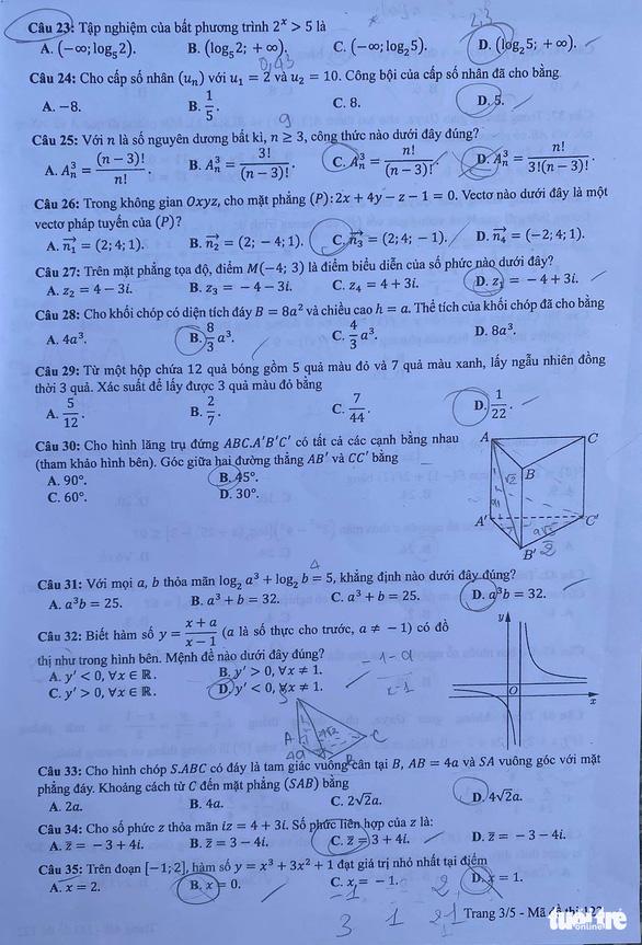 Bài giải môn toán kỳ thi tốt nghiệp THPT năm 2021 - Ảnh 4.