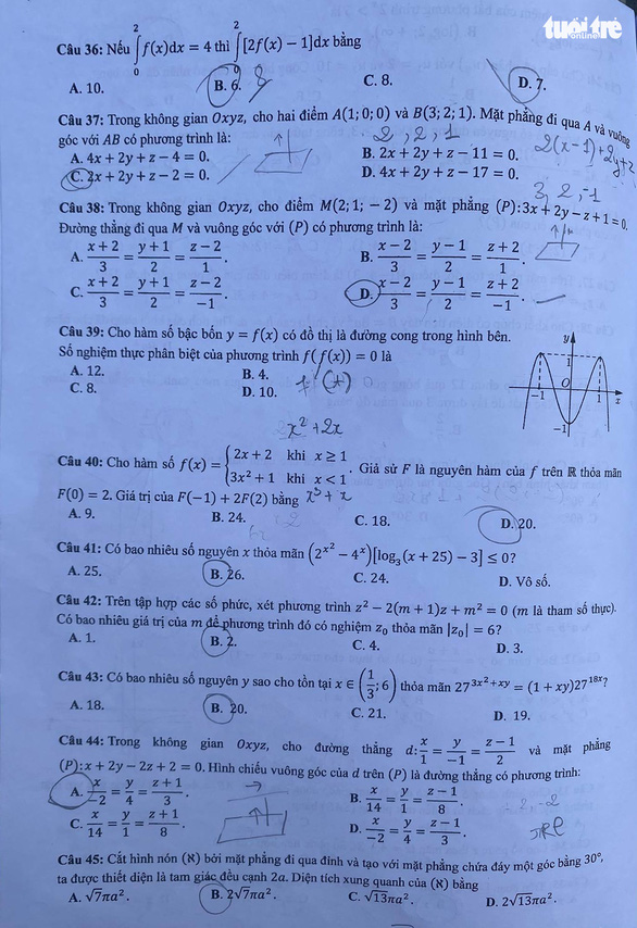Bài giải môn toán kỳ thi tốt nghiệp THPT năm 2021 - Ảnh 5.