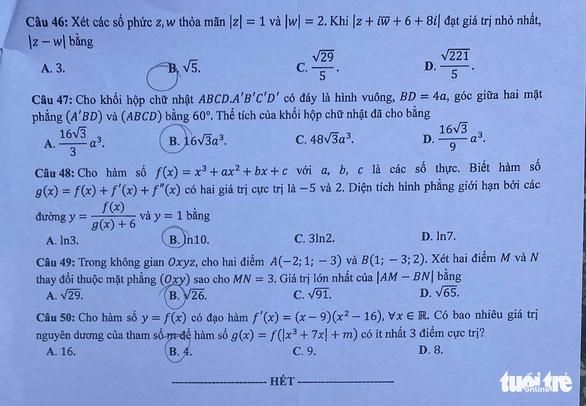 Bài giải môn toán kỳ thi tốt nghiệp THPT năm 2021 - Ảnh 6.