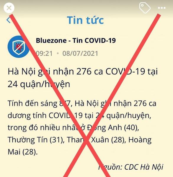 Bluezone đăng tin Hà Nội ghi nhận 276 ca COVID-19: Chưa chính xác - Ảnh 1.