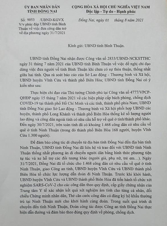 Đồng Nai phản hồi, rút kinh nghiệm vụ đưa cả ngàn người qua tỉnh Bình Thuận - Ảnh 1.
