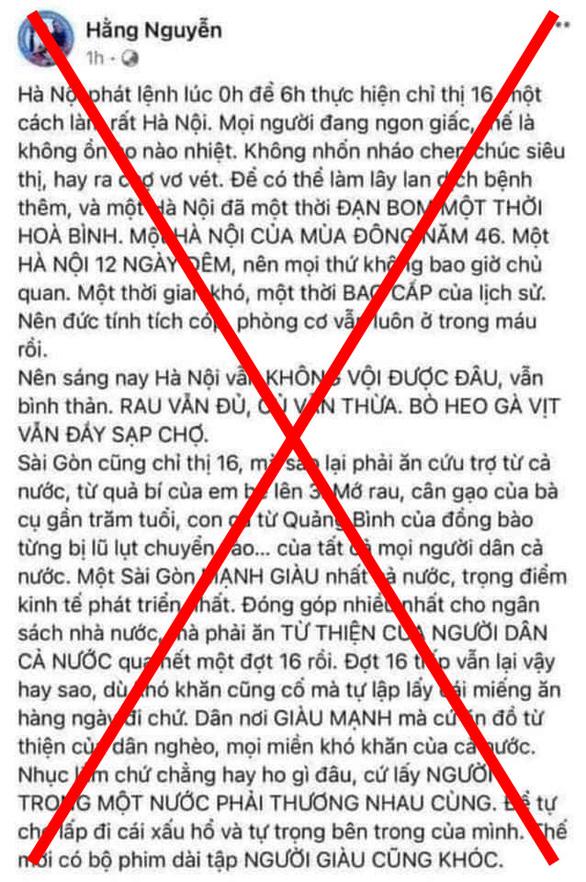 Phạt chủ Facebook Hằng Nguyễn 5 triệu vì đăng tin gây hoang mang về cứu trợ - Ảnh 1.