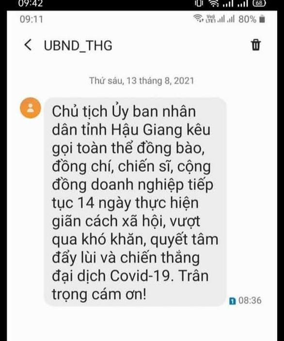 VinaPhone ở Hậu Giang gây hiểu nhầm khi nhắn 'tiếp tục 14 ngày thực hiện giãn cách xã hội' - Ảnh 1.