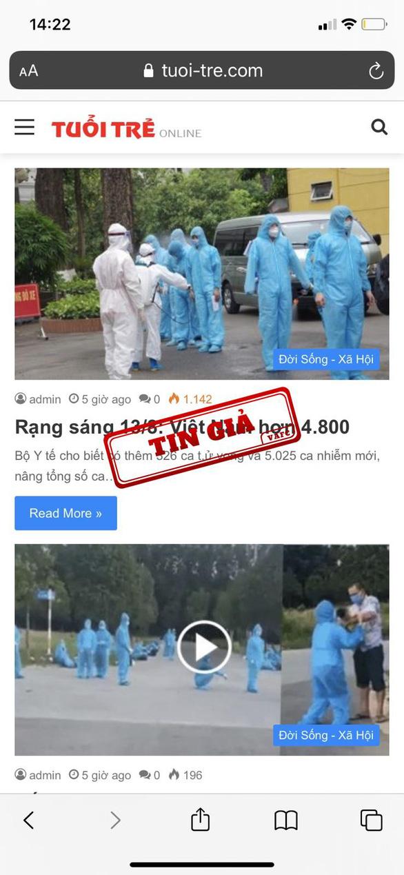 Trung tâm xử lý tin giả Việt Nam thông tin về website không phép, giả mạo báo Tuổi Trẻ Online - Ảnh 2.