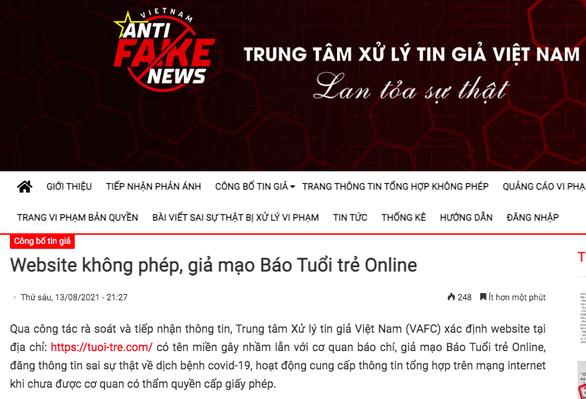 Trung tâm xử lý tin giả Việt Nam thông tin về website không phép, giả mạo báo Tuổi Trẻ Online - Ảnh 1.