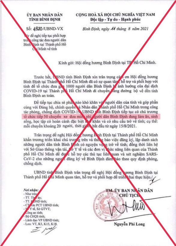 Văn bản nói Bình Định tổ chức 50 chuyến xe đưa người dân từ TP.HCM là giả mạo - Ảnh 1.