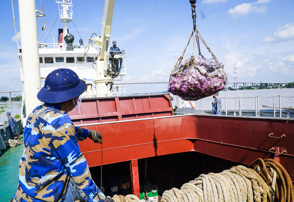 Tàu Hải quân chở nông sản từ miền Tây lên TP.HCM - Ảnh 1.