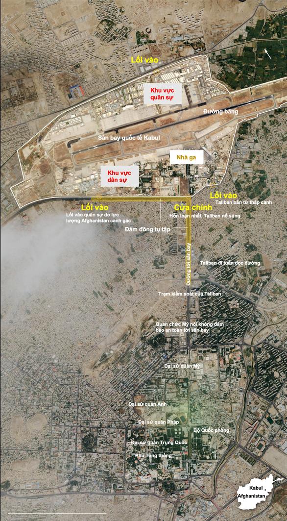 Sân bay Kabul căng thẳng: Mỹ siết bên trong, Taliban chặn bên ngoài - Ảnh 1.