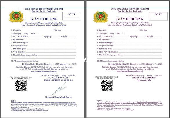 TP.HCM đổi giấy đi đường mới từ 0h ngày 25-8 - Ảnh 1.