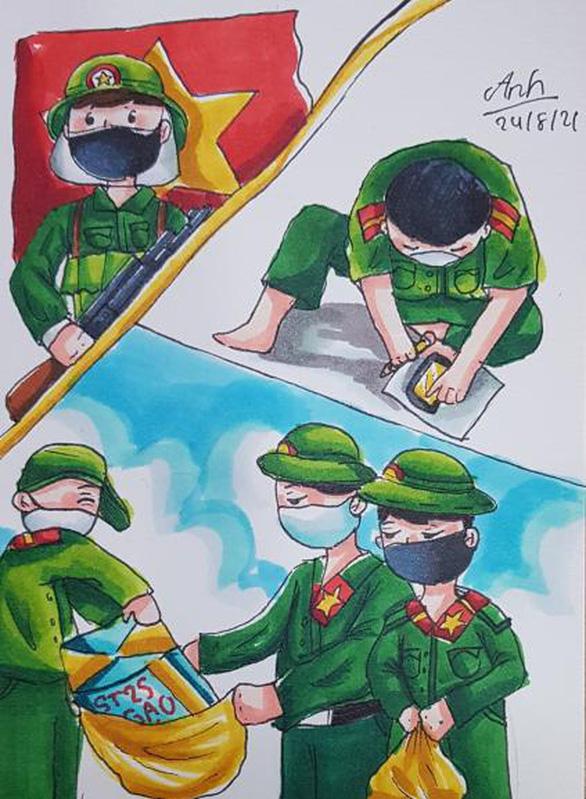 Dân mạng hí hoáy vẽ tranh các anh bộ đội vác rau củ đến từng nhà dân - Ảnh 2.