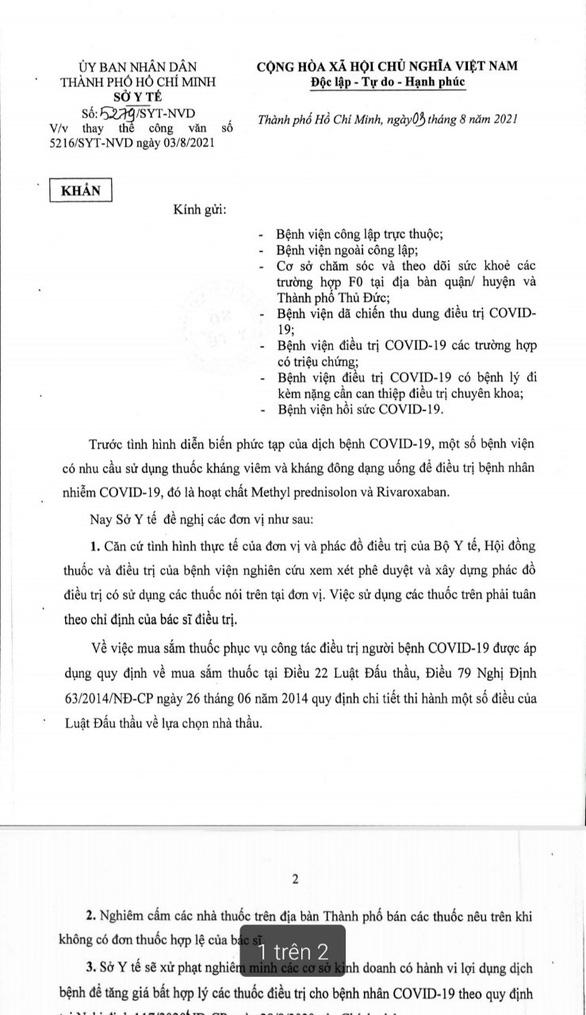 Sở Y tế TP.HCM ra văn bản mới thay văn bản giới thiệu mua 2 loại thuốc - Ảnh 1.