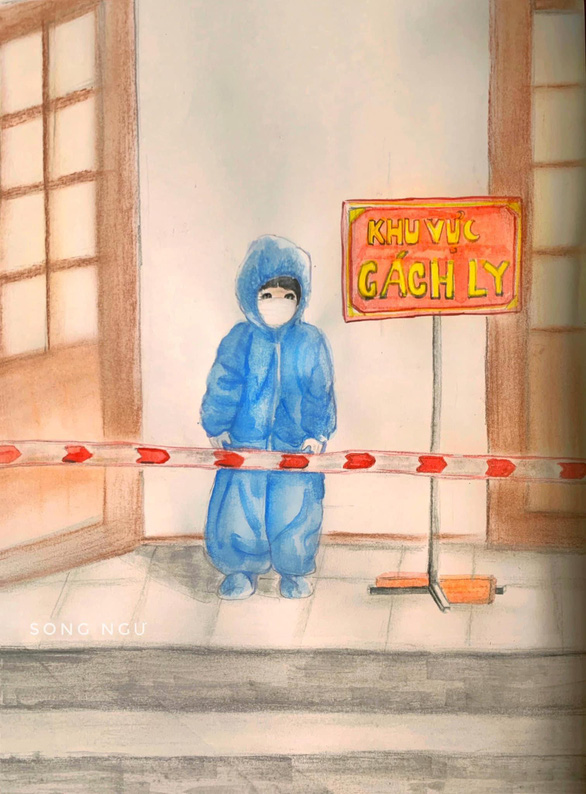 Những bức vẽ xúc động về cuộc chiến chống COVID-19 của cô giáo ở Vũng Tàu - Ảnh 10.