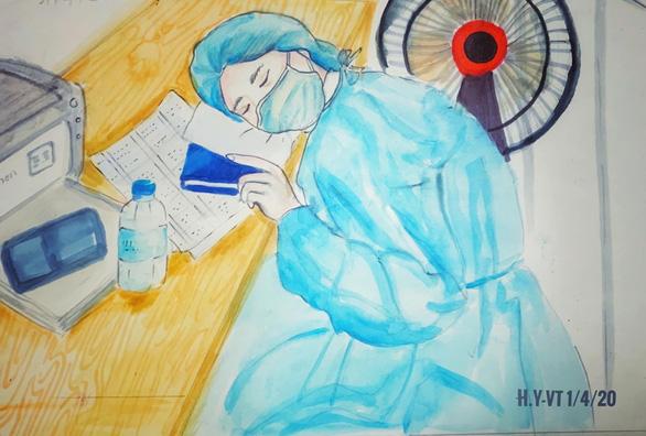 Những bức vẽ xúc động về cuộc chiến chống COVID-19 của cô giáo ở Vũng Tàu - Ảnh 5.