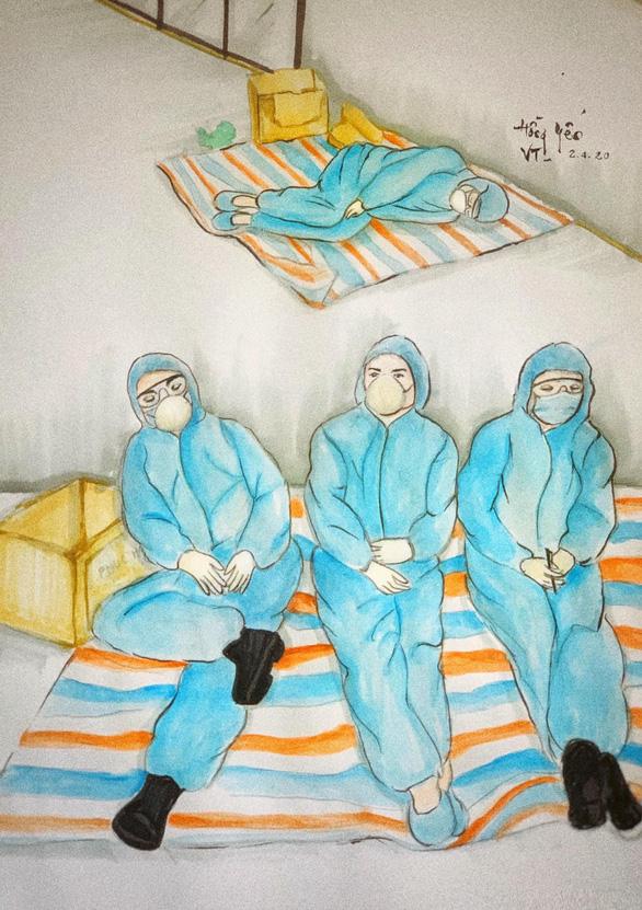 Những bức vẽ xúc động về cuộc chiến chống COVID-19 của cô giáo ở Vũng Tàu - Ảnh 7.