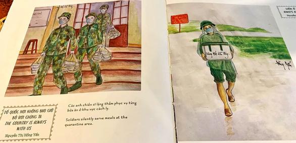 Những bức vẽ xúc động về cuộc chiến chống COVID-19 của cô giáo ở Vũng Tàu - Ảnh 2.