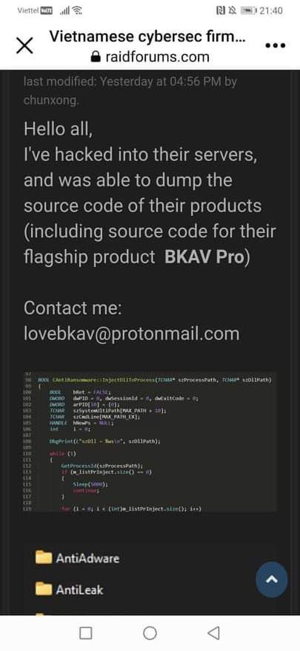 Bkav xác nhận dữ liệu bị rò rỉ nhưng không gây ảnh hưởng - Ảnh 1.