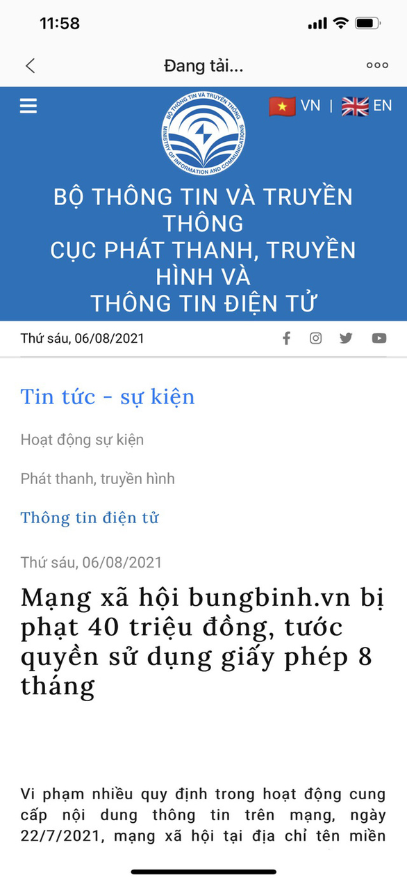 Mạng xã hội bungbinh.vn bị phạt 40 triệu đồng, tước quyền sử dụng giấy phép 8 tháng - Ảnh 1.