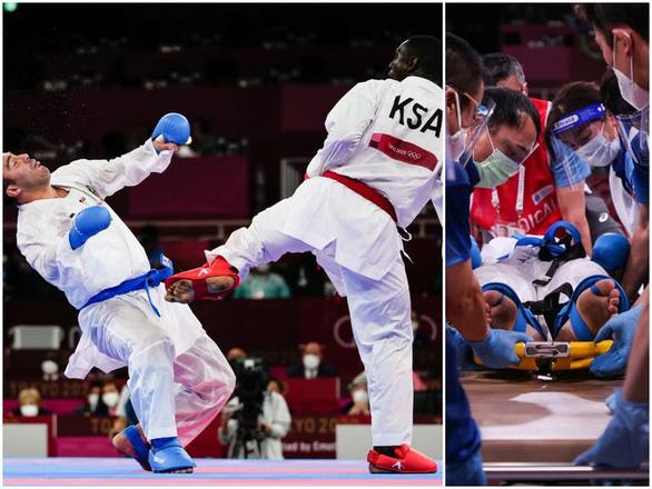 Võ sĩ karate bị đá ngất xỉu nằm trên cáng vẫn đoạt huy chương vàng Olympic - Ảnh 1.