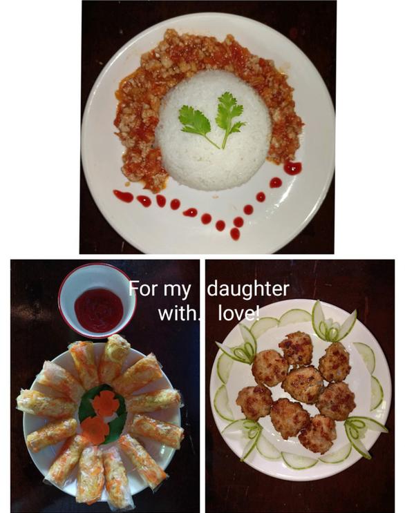 Cơm Ý, chả giò pò pía và thịt băm chiên từ nguyên liệu giản đơn - Ảnh 1.