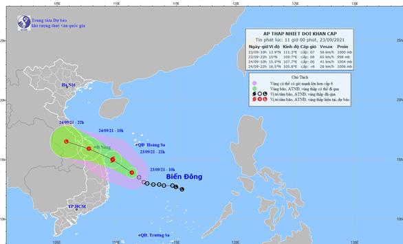 Áp thấp nhiệt đới đổ bộ vào đêm nay và rạng sáng mai 24-9 - Ảnh 1.