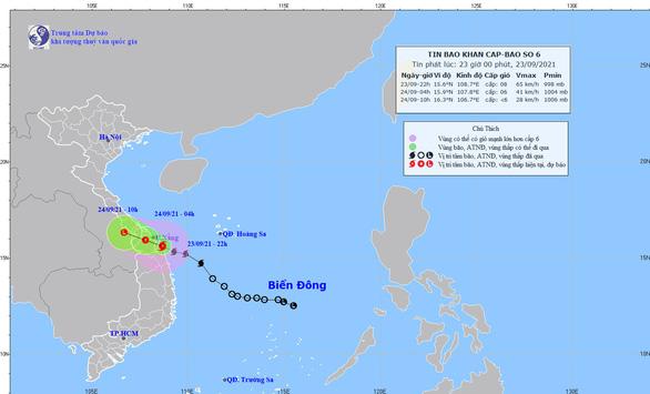 Bão số 6 ngay trên vùng biển ven bờ từ Thừa Thiên Huế đến Quảng Ngãi - Ảnh 1.