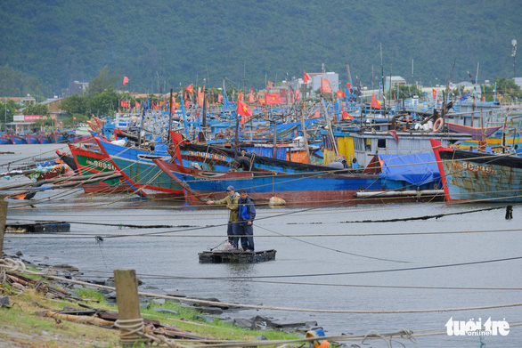 Ngư dân Đà Nẵng mang tàu thuyền lên đường, néo vô cây... đề phòng bão số 6 - Ảnh 2.
