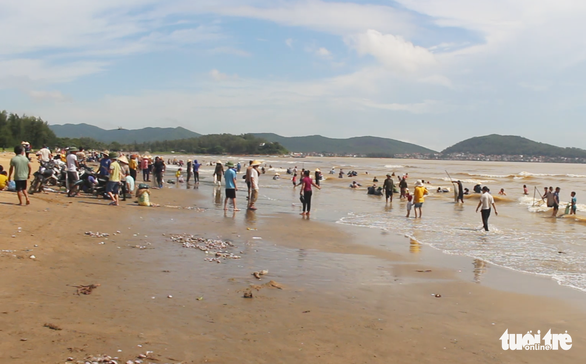 Cả trăm người đi vớt 'lộc biển' dạt vào bờ sau mưa bão - Ảnh 2.