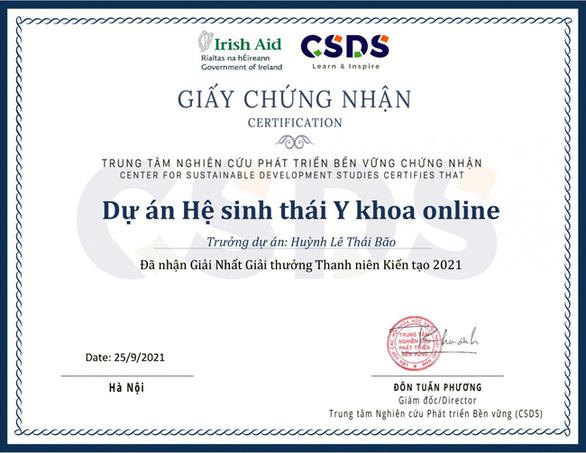 'Hệ sinh thái Y khoa online' của nhóm Y khoa, ĐH Duy Tân đạt giải nhất Thanh niên Kiến tạo năm 2021 - Ảnh 3.