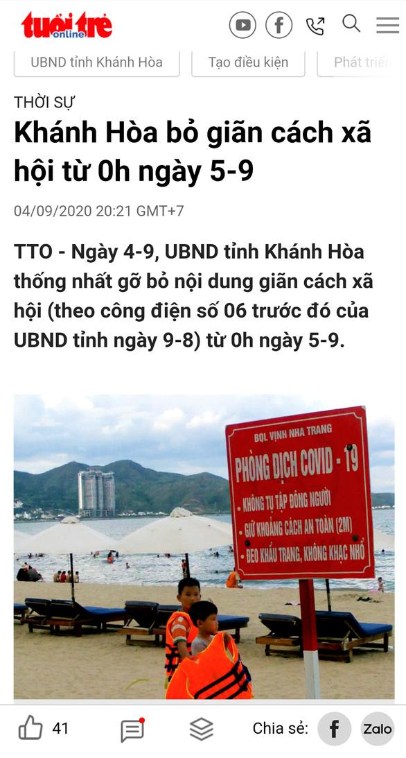 Thông tin Khánh Hòa bỏ giãn cách xã hội từ 0h ngày 5-9 là sai sự thật - Ảnh 1.