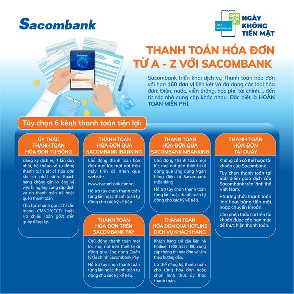 Infographic: Thanh toán hóa đơn miễn phí với Sacombank - Ảnh 1.