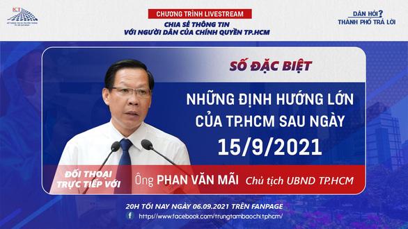 20h tối 6-9: Chủ tịch UBND TP.HCM trả lời trực tiếp về định hướng của TP sau 15-9 - Ảnh 1.