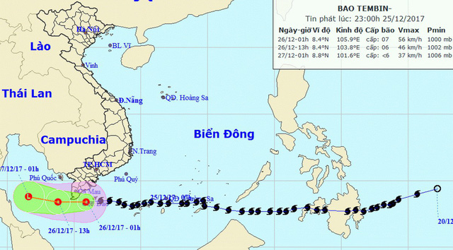 Miền Nam bớt run, bão Tembin đã suy yếu thành áp thấp nhiệt đới - Ảnh 1.
