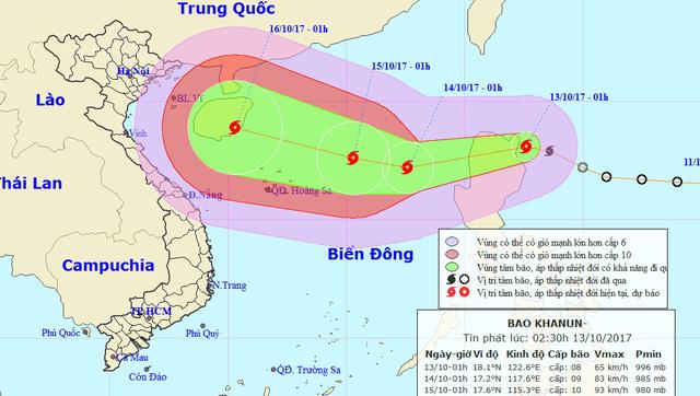 Áp thấp nhiệt đới mạnh thành bão, tiến gần Hoàng Sa - Ảnh 1.