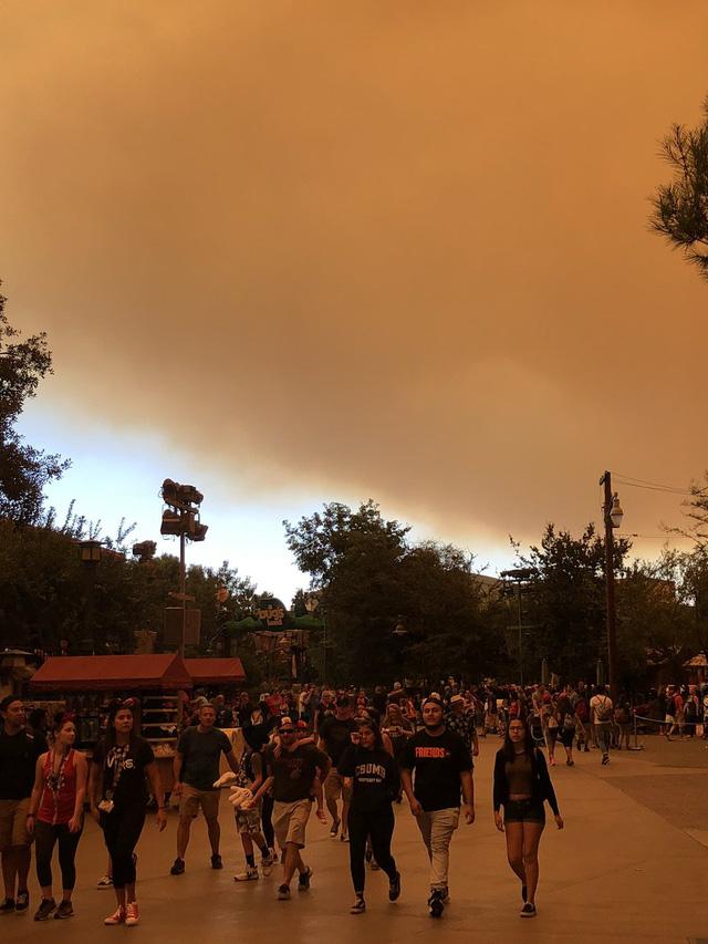 Cháy rừng khiến trời công viên Disneyland như trong phim ma - Ảnh 5.