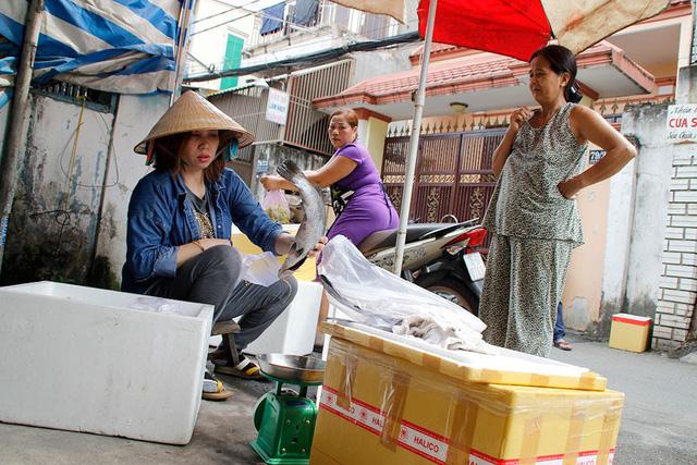 Dù bán chỉ bằng phân nửa giá so với bình thường nhưng đến gần trưa cả chục kg cá chim trắng của chị Ngân vẫn chưa bán được - Ảnh: NGUYỄN TRÍ