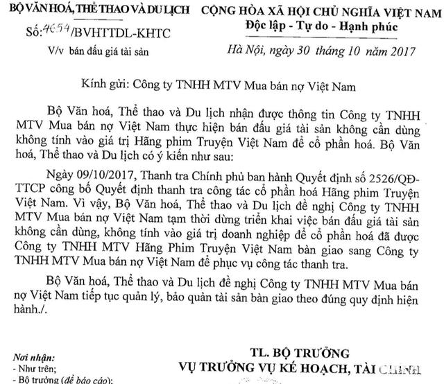 Bộ yêu cầu ngừng đấu giá tài sản của Hãng phim truyện Việt Nam - Ảnh 3.