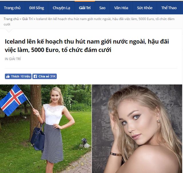 Không có chuyện lấy vợ Iceland được trả 5.000 USD mỗi tháng - Ảnh 1.
