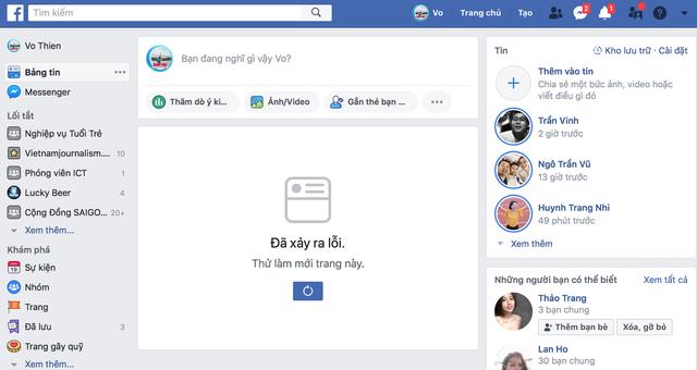 Facebook đang bị lỗi trên diện rộng - Ảnh 1.