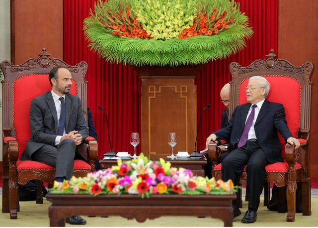 Tổng bí thư, Chủ tịch nước Nguyễn Phú Trọng tiếp Thủ tướng Pháp Édouard Philippe - Ảnh 2.