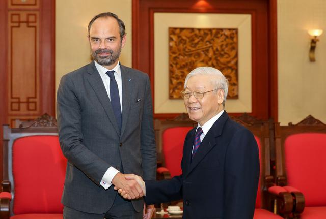 Tổng bí thư, Chủ tịch nước Nguyễn Phú Trọng tiếp Thủ tướng Pháp Édouard Philippe - Ảnh 1.