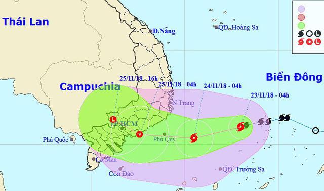 Bão cách bờ 450km, miền Trung, miền Nam sắp mưa lớn - Ảnh 1.
