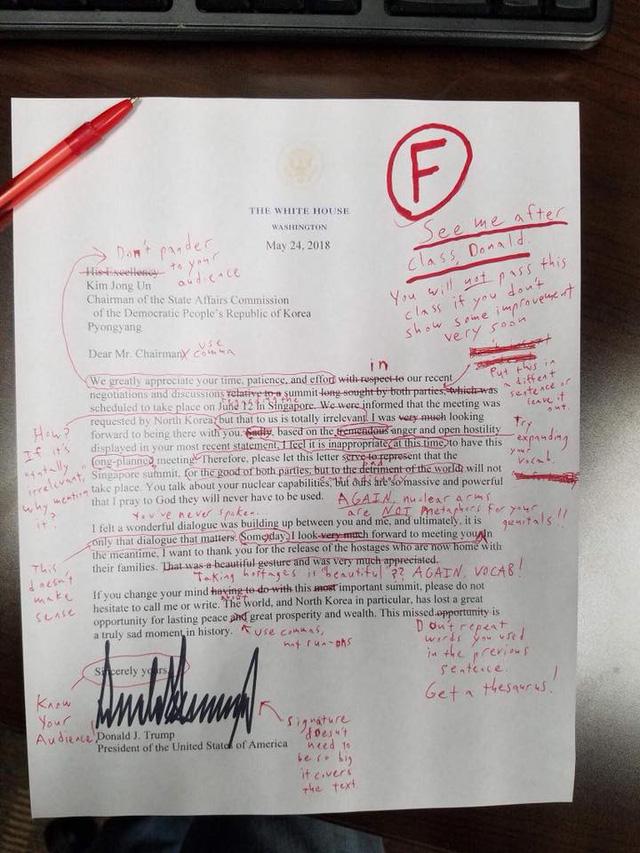 Bức thư đầy lỗi bị chấm điểm cực thấp của ông Trump - Ảnh 1.