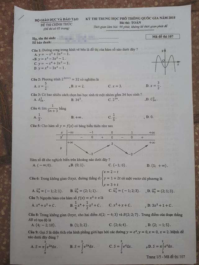 Đề thi toán THPT Quốc gia gồm 50 câu trắc nghiệm - Ảnh 7.