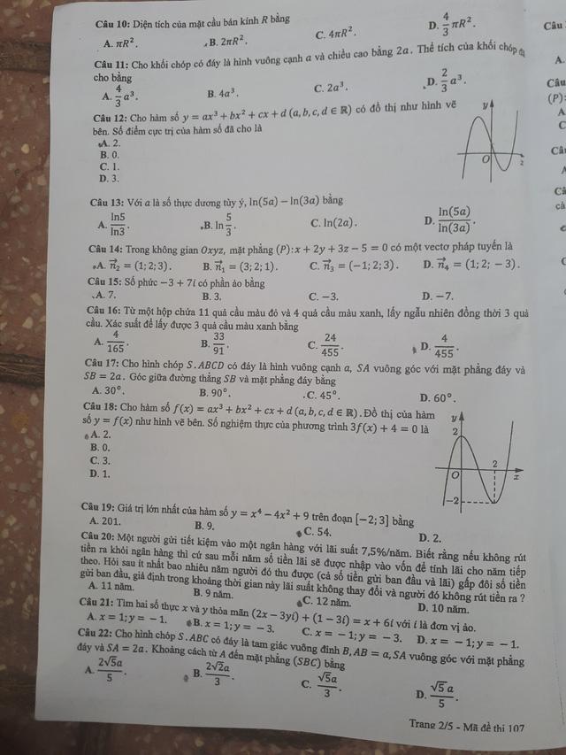 Đề thi toán THPT Quốc gia gồm 50 câu trắc nghiệm - Ảnh 8.