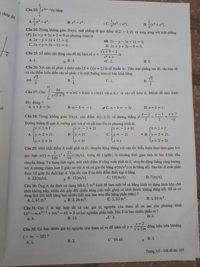 Đề thi toán THPT Quốc gia gồm 50 câu trắc nghiệm - Ảnh 9.