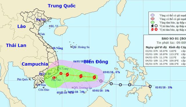 Áp thấp đã mạnh thành bão, cách Song Tử Tây 210km - Ảnh 1.