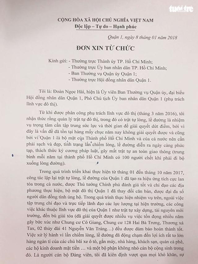 Ông Đoàn Ngọc Hải nộp đơn từ chức - Ảnh 2.