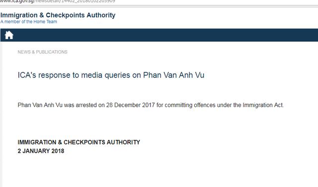 Một người tên Phan Van Anh Vu bị bắt tại Singapore - Ảnh 1.