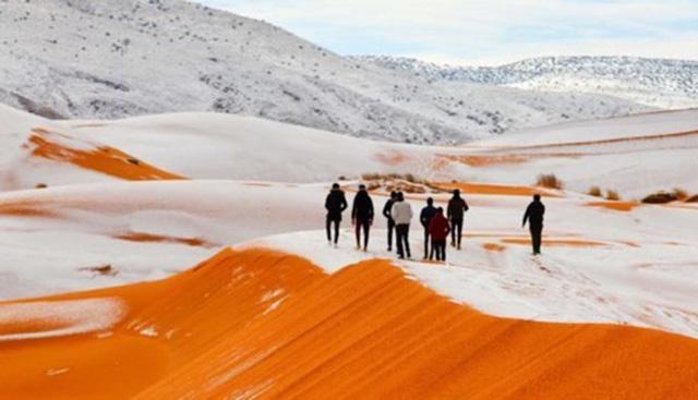 Cảnh tượng thiên nhiên hiếm có: Tuyết phủ kín sa mạc đỏ Sahara - Ảnh 2.