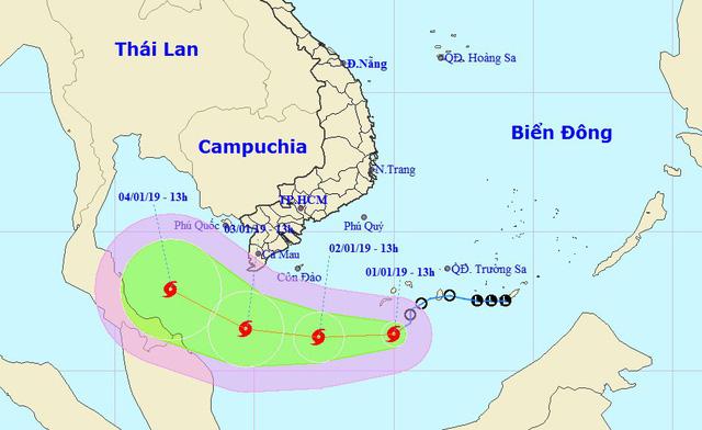 Áp thấp mạnh thành bão số 1, cách đất liền Nam Bộ 500km - Ảnh 1.